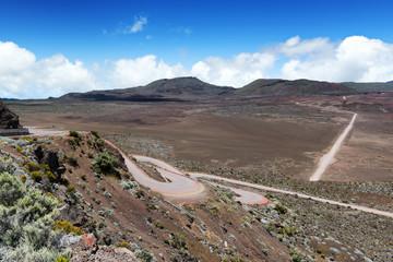 """la plaine des sables  : on the road leading to the""""piton de la fournaise"""" volcano on réunion island, indian ocean."""