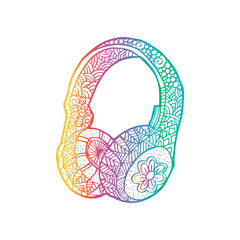 Hand drawn decorative headphones illustration.