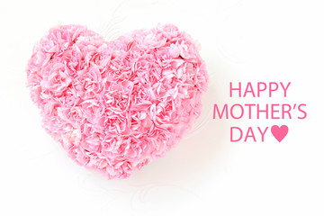 Heart shaped bouquet of pink carnations for mother's day