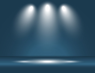Spotlight blue light rays room studio background vector