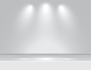Spotlight gray light rays room studio background vector