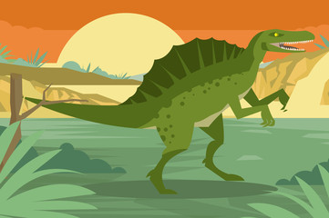 hungry bad spinosaurus in the jungle