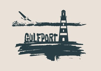 Lighthouse on brush stroke seashore. Clouds line with retro airplane icon. Vector illustration. Gulfport city name text.
