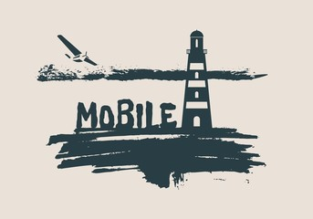 Lighthouse on brush stroke seashore. Clouds line with retro airplane icon. Vector illustration. Mobile city name text.