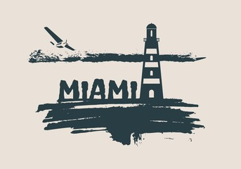 Lighthouse on brush stroke seashore. Clouds line with retro airplane icon. Vector illustration. Miami city name text.