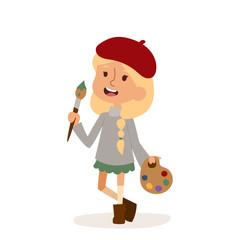 Artist girl art brush isolated on white cute cartoon vector profession illustration person childhood uniform worker character kid