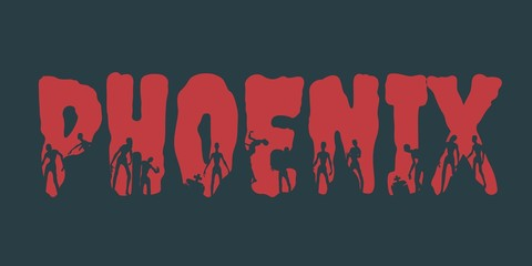 Phoenix city name and zombie silhouettes on them. Halloween theme background