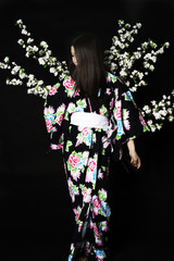 Japanese girl in traditional Japanese kimono, holds sprigs of cherry blossoms on a black background.