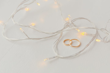 Wedding rings and lights