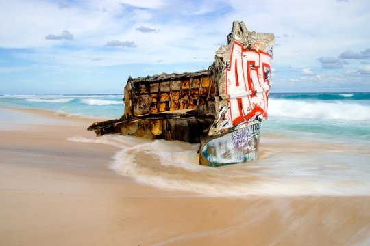 grafitti ship wreck bali indonesia