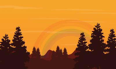 Landscape of hill and rainbow silhouettes