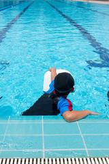 Asian Boy Practice Swimming.