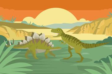 stegosaurus and tyrannosaurus rex in the wild jungle