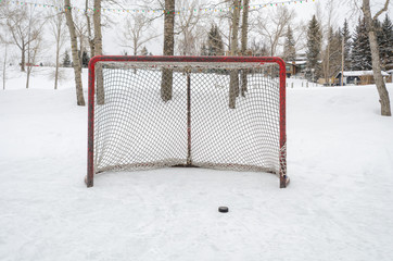 Hockey net with black hockey puck outdoor rink