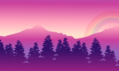 Silhouette of mountain with rainbow beauty landscape