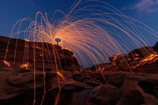 Swirl lights by steel wool /  jerk the steel wool light on stone mountain SamPhanBok
