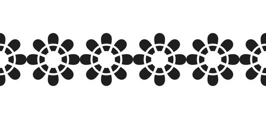 Border of black flowers for decoration, scrapbooking, greeting cards. Vector illustration