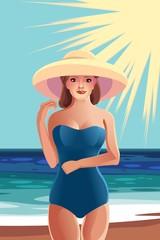Девушка в шляпе на пляже вектор