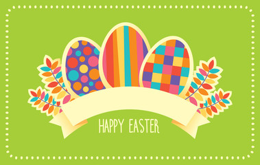 Vector template of card or banner with retro design and Happy Easter sign ribbon