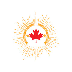 Made in Canada banner, flag red maple leaf.