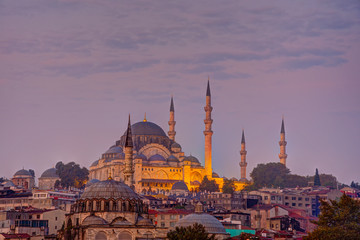 The famous Suleymaniye Mosque in Istanbul, Turkey, before sunrise