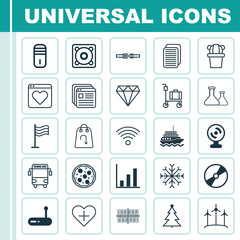 Set Of 25 Universal Editable Icons. Can Be Used For Web, Mobile And App Design. Includes Elements Such As Cd-Rom, Web Camera, Router And More.