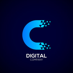 Letter C Pixel logo, Triangle,Blue color,Technology and digital logotype