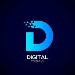 Letter D Pixel logo, Triangle,Blue color,Technology and digital logotype