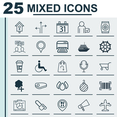 Set Of 25 Universal Editable Icons. Can Be Used For Web, Mobile And App Design. Includes Elements Such As Discussion, Bullhorn, Christmas Ball And More.