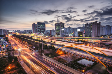 Fotobehang Nacht snelweg Night view of Gyeongbu Expressway