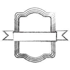 grayscale sketch of rectangular frame with ribbon in the center vector illustration