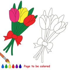 Page to be colored, simple education game for kids.