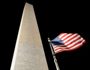 American flag and George Washington monument at night, Washington, DC, USA