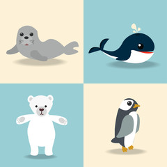 cute Artic animal collection