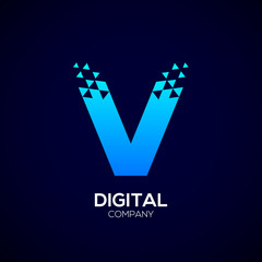 Letter V Pixel logo, Triangle,Blue color,Technology and digital logotype