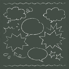 hand drawn speech balloon illustration on blackboard