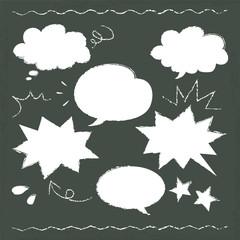 hand drawn speech balloon illustration on blackboard