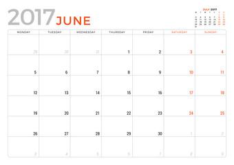 Calendar Planner for June 2017 Year. Vector Design Template. Week Starts Monday. Stationery Design