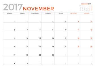 Calendar Planner for November 2017 Year. Vector Design Template. Week Starts Monday. Stationery Design