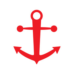 anchor icon red color isolated vector