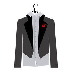 colorful silhouette cartoon costume groom vector illustration