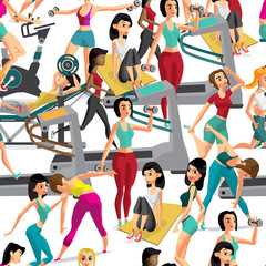Seamless pattern women doing fitness exercises in the gym. Carto