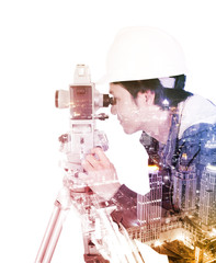 Double exposure of engineer working with survey equipment theodolite on a tripod against the city isolated on white