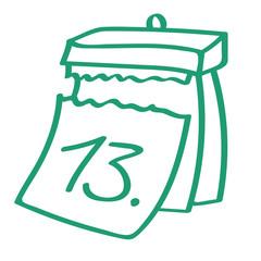 Handgezeichneter Kalender - Tag 13 in grün
