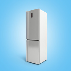 Stainless steel modern refrigerator 3d illustration on blue
