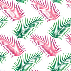 Seamless floral pattern.palm leaves on white background