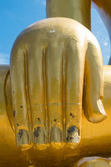 Giant finger of golden buddha statue