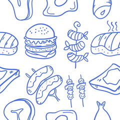 Collection of food various doodle set
