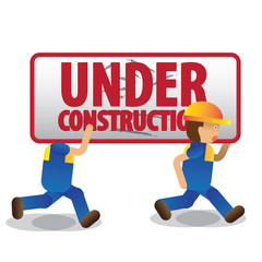 men workers with blue jumpsuit and yellow helmet carrying under construction sign, vector illustration