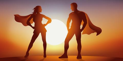 Héros - Héroïne - super pouvoir - imaginaire - enfant - Coucher de soleil